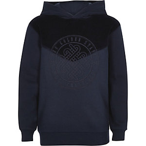 Boys navy 'Golden state' velour hoodie