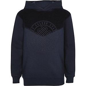 Marineblauwe fluwelen hoodie met 'Golden state'-print voor jongens