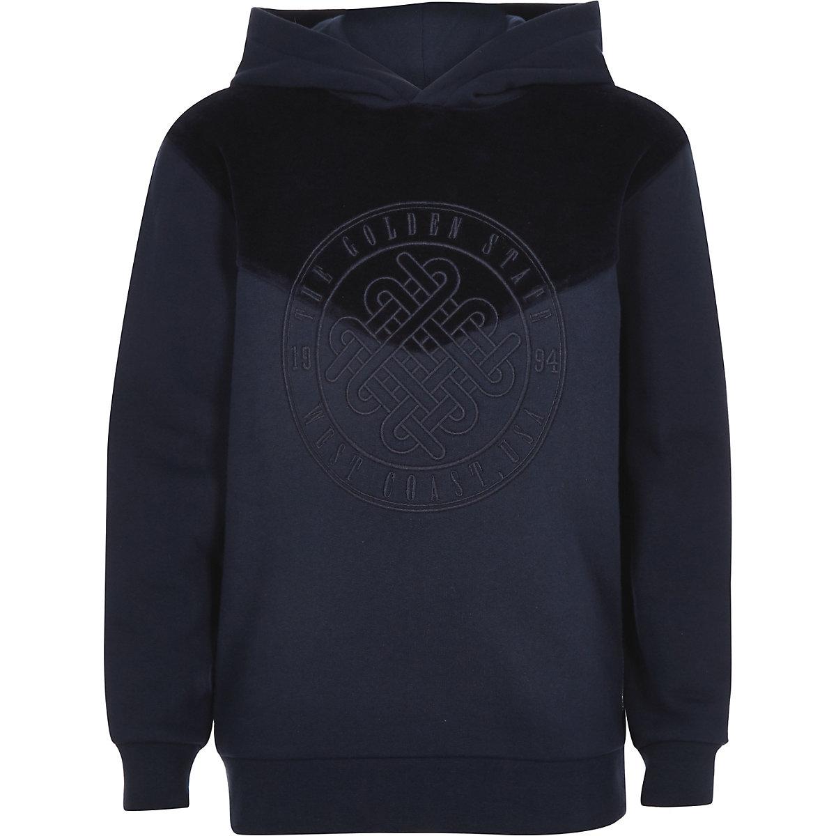 Boys navy 'Golden state' velour hoodie