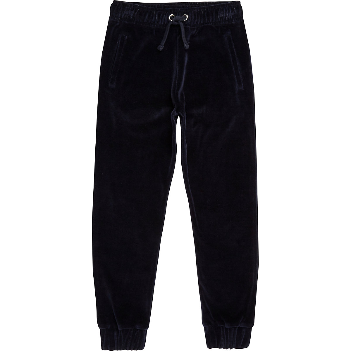 Boys navy velour joggers