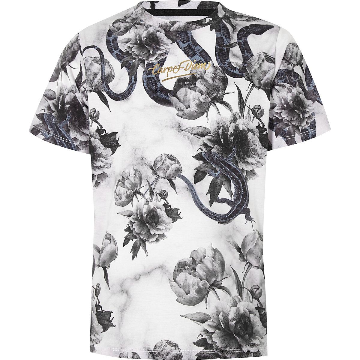 Boys black mixed print 'Carpe Diem' T-shirt