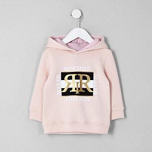 Mini - Roze hoodie met 'Misschief maker'-print voor jongens