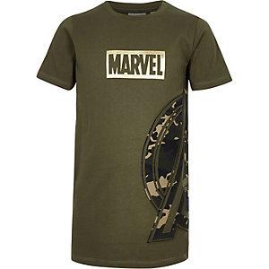 Kaki T-shirt met Marvel Avengers- en camouflageprint voor jongens