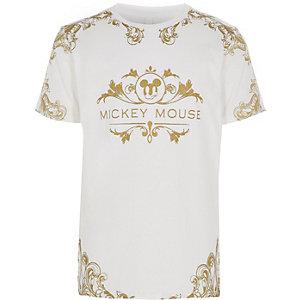 Wit T-shirt met barok- en Mickey Mouse-print voor jongens