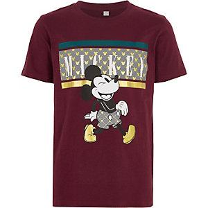 Boys burgundy Micky Mouse T-shirt