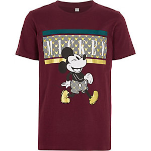 Bordeauxrood T-shirt met Micky Mouse-print voor jongens