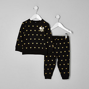Mini boys black Mickey Mouse jogger outfit