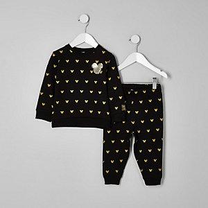 Mini - Zwart joggingpak met Mickey Mouse-print voor jongens