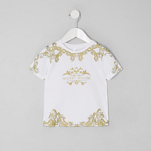 Mini boys white baroque Mickey Mouse T-shirt