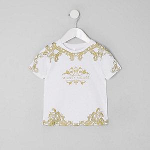 Mini - Wit T-shirt met barok- en Mickey Mouse-print voor jongens