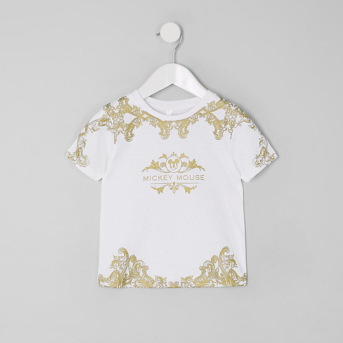 Mini boys white baroque Mickey Mouse T-shirt