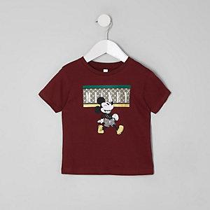 Mini - Bordeauxrood T-shirt met Mickey Mouse-print voor jongens