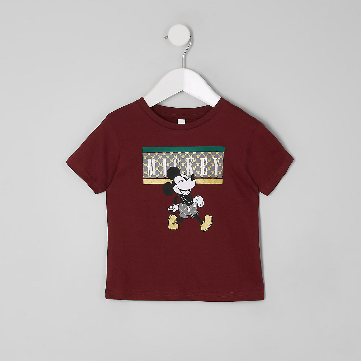 Mini boys burgundy Micky Mouse T-shirt