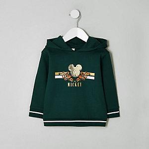 Mini - Groene hoodie met pailletten en Mickey Mouse-print voor jongens