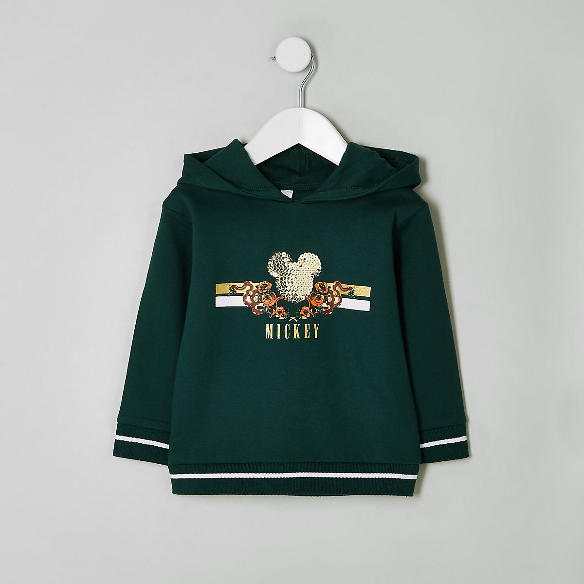 Mini boys green sequin Mickey Mouse hoodie