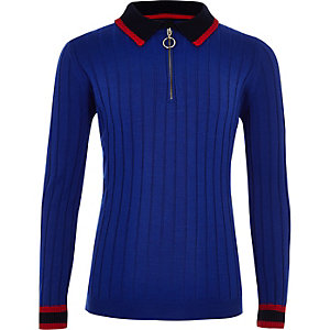 Boys RI Studio blue long sleeve polo shirt
