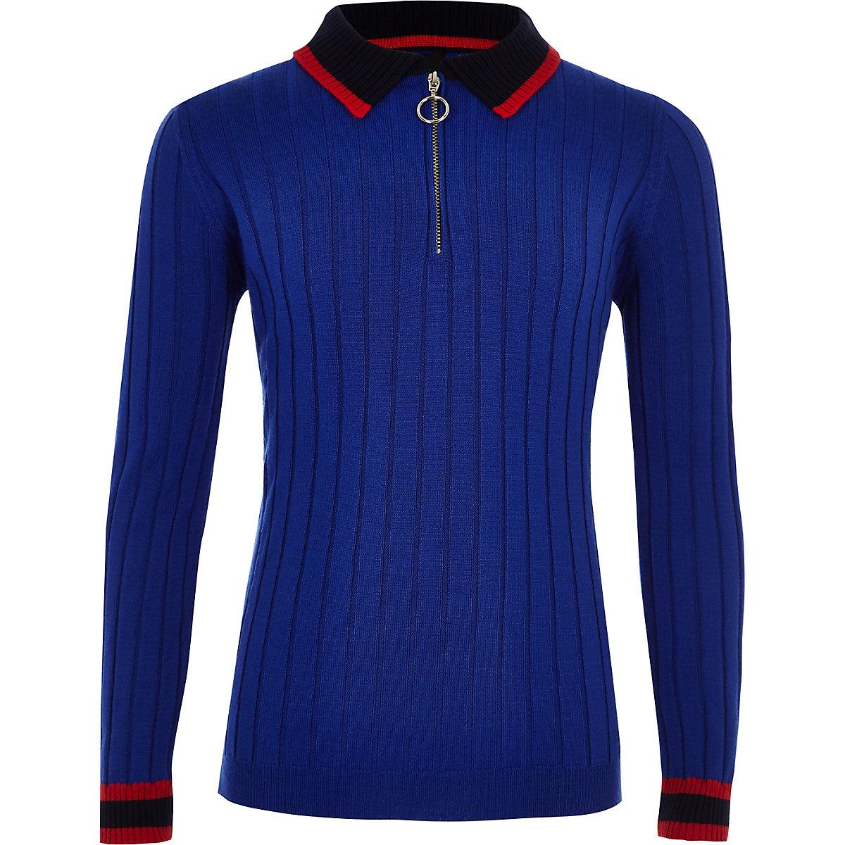 Boys RI Studio blue long sleeve polo shirt