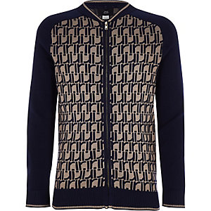 Boys navy RI print bomber jacket
