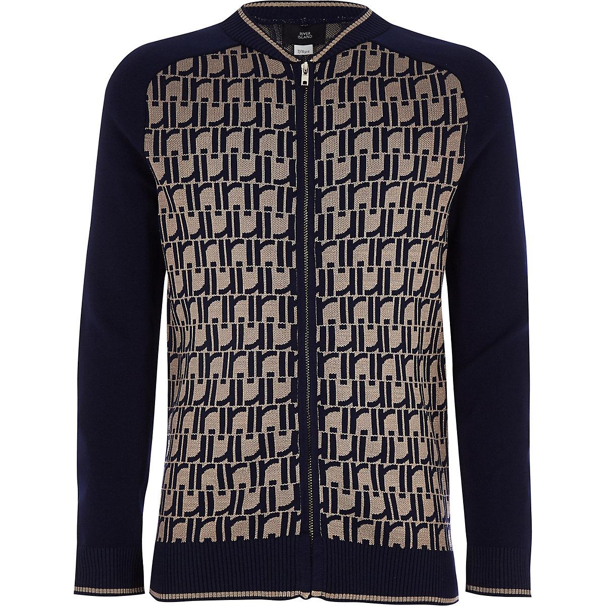 Boys navy RI print bomber jacket