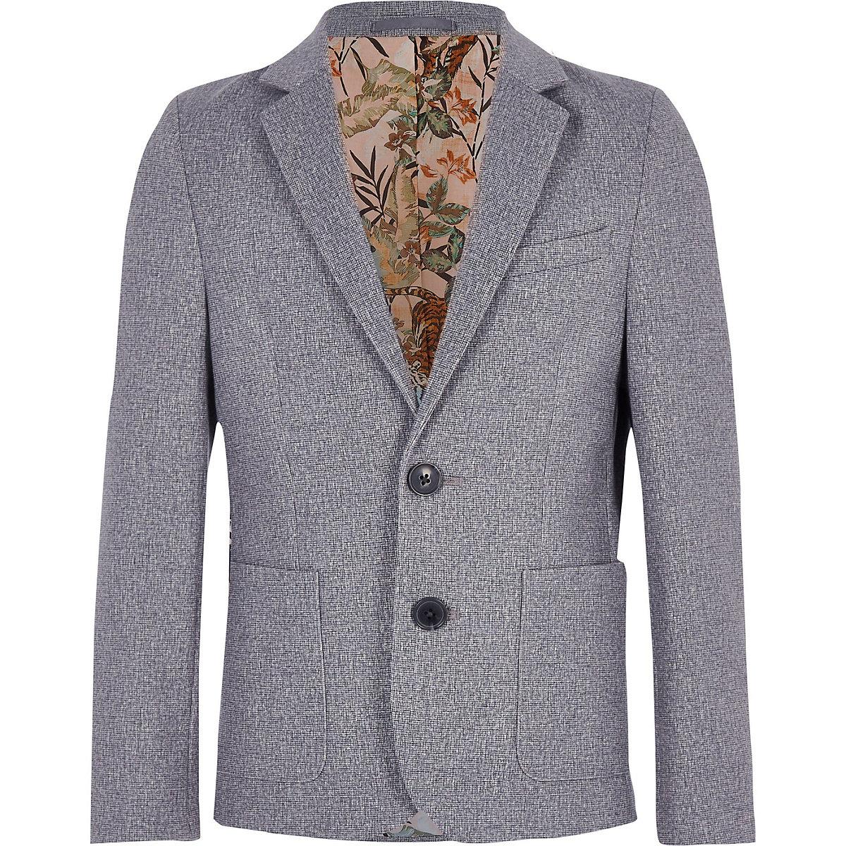 Boys grey floral lined blazer