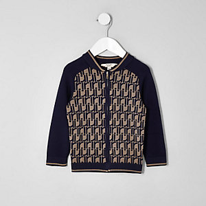 Mini boys navy RI print bomber jacket