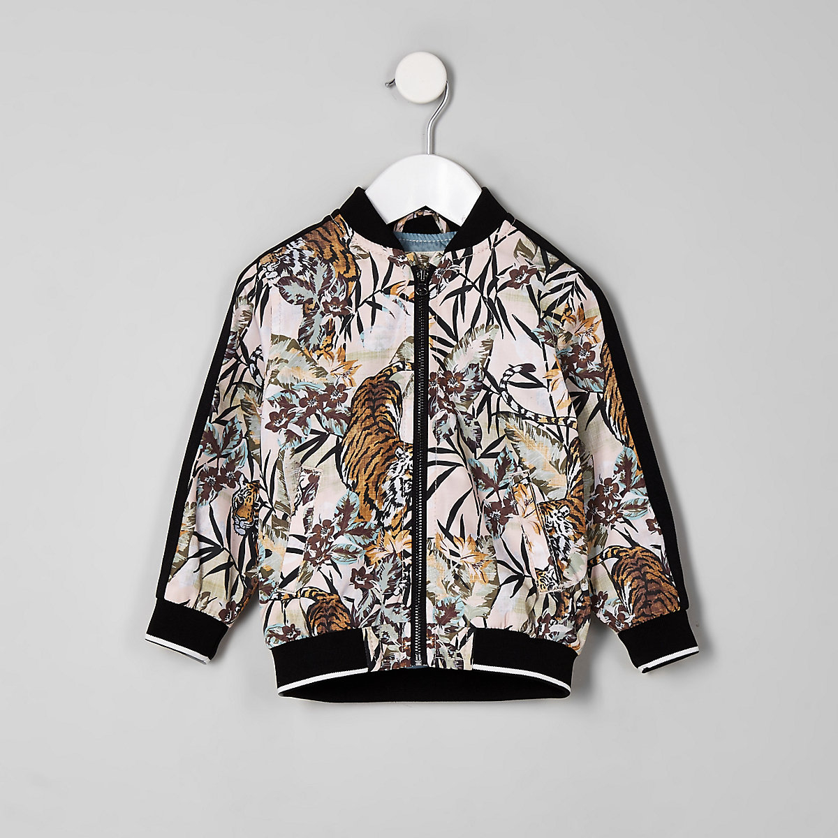 Mini boys pink tiger print bomber jacket