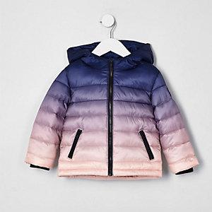 Mini boys navy ombre puffer jacket