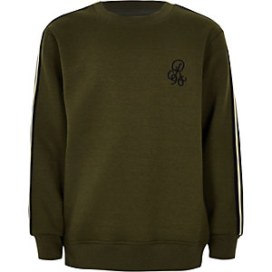 Boys khaki green 'R96' tape side jumper
