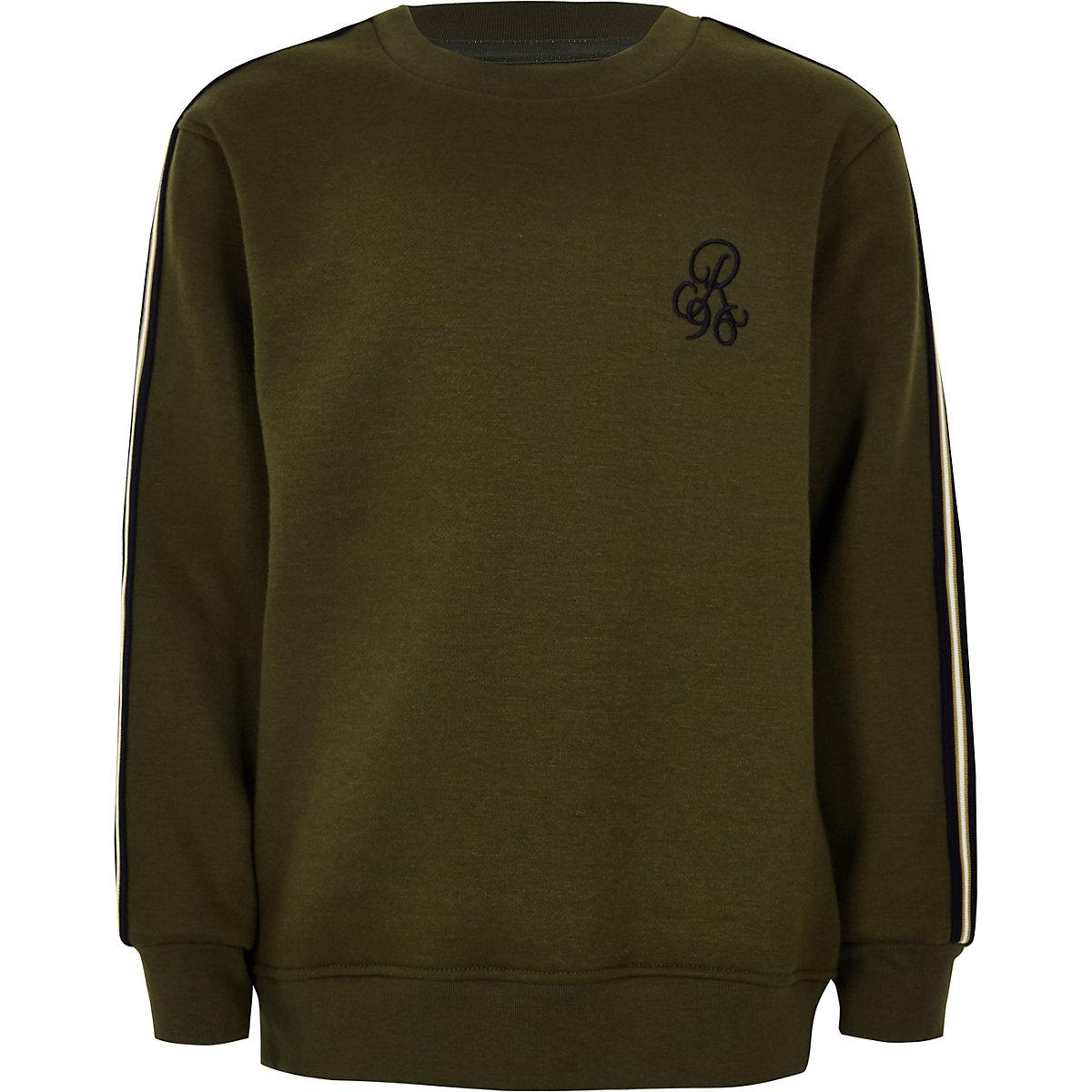 Boys khaki green 'R96' tape side jumper