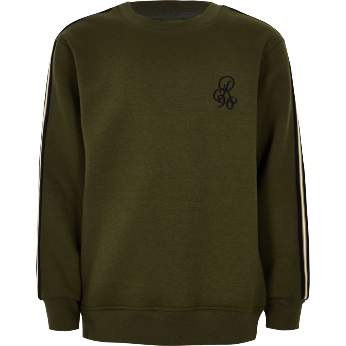 Boys khaki green 'R96' tape side sweater