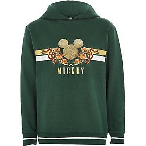 Groene hoodie met pailletten en Mickey Mouse-print voor jongens