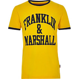 Boys yellow Franklin & Marshall logo T-shirt