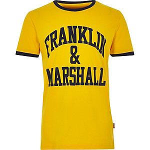 Franklin & Marshall - Geel T-shirt met logo voor jongens