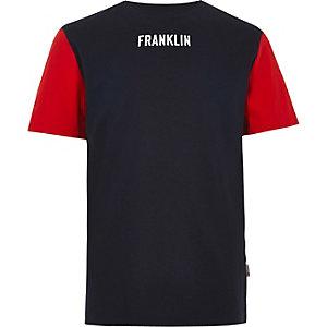 Franklin & Marshall - Marineblauw T-shirt met kleurvlakken voor jongens