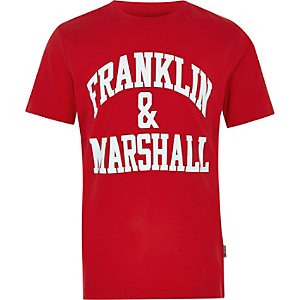 Franklin & Marshall - Rood T-shirt met logo voor jongens