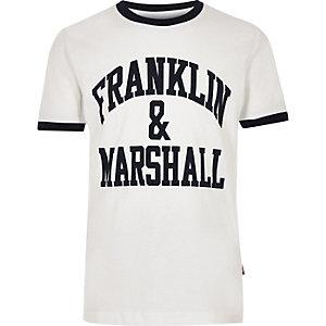 Franklin & Marshall - Wit T-shirt met contrasterend randje voor jongens