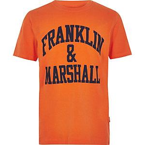 Franklin & Marshall – T-Shirt in Orange mit Logo