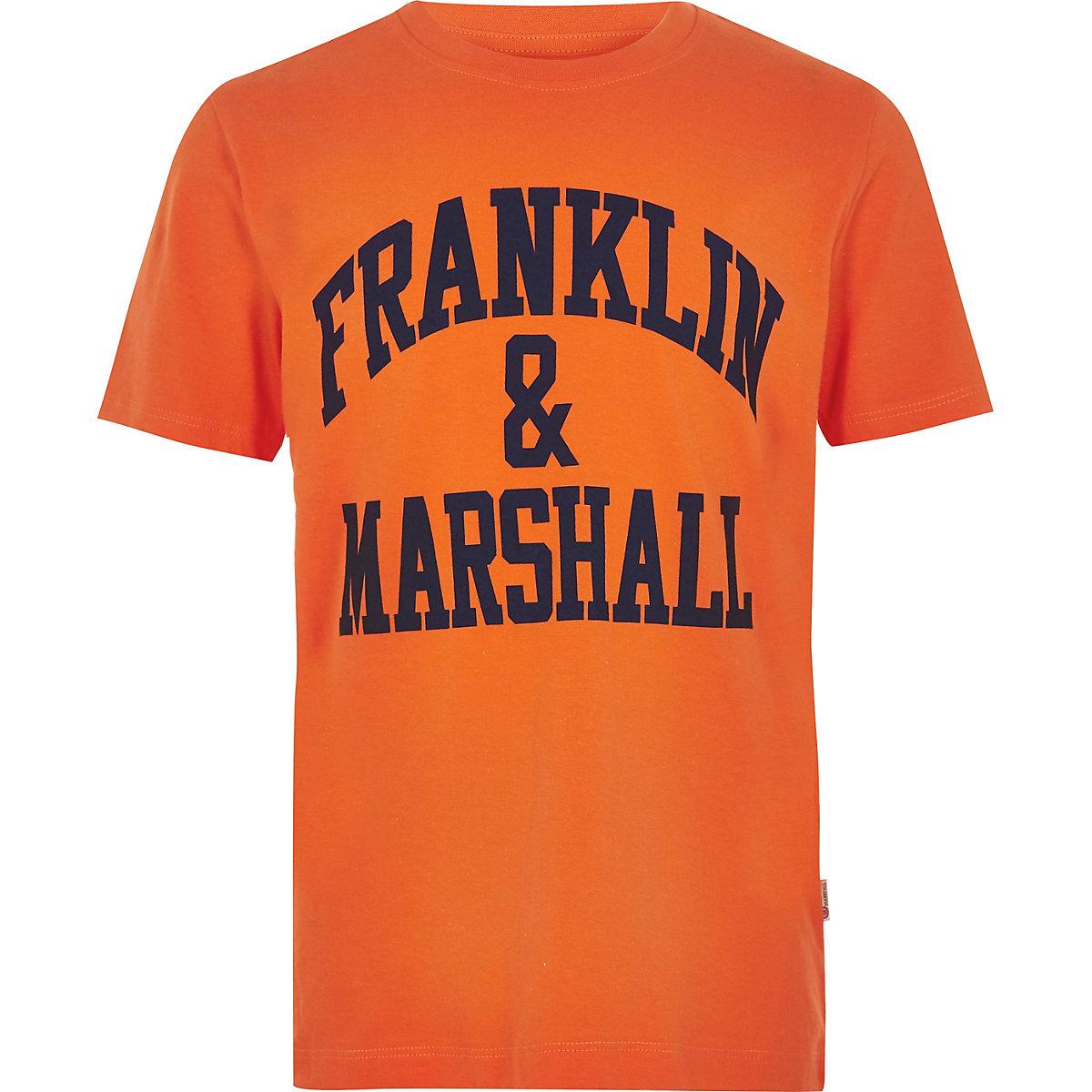Boys orange Franklin & Marshall logo T-shirt