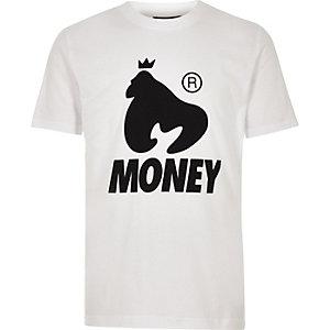 Money Clothing – Weißes T-Shirt mit Logo