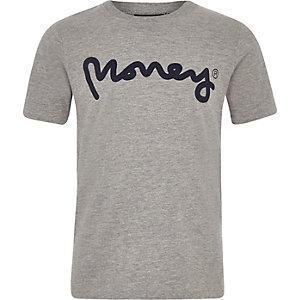 Money Clothing – Graues T-Shirt mit Logo