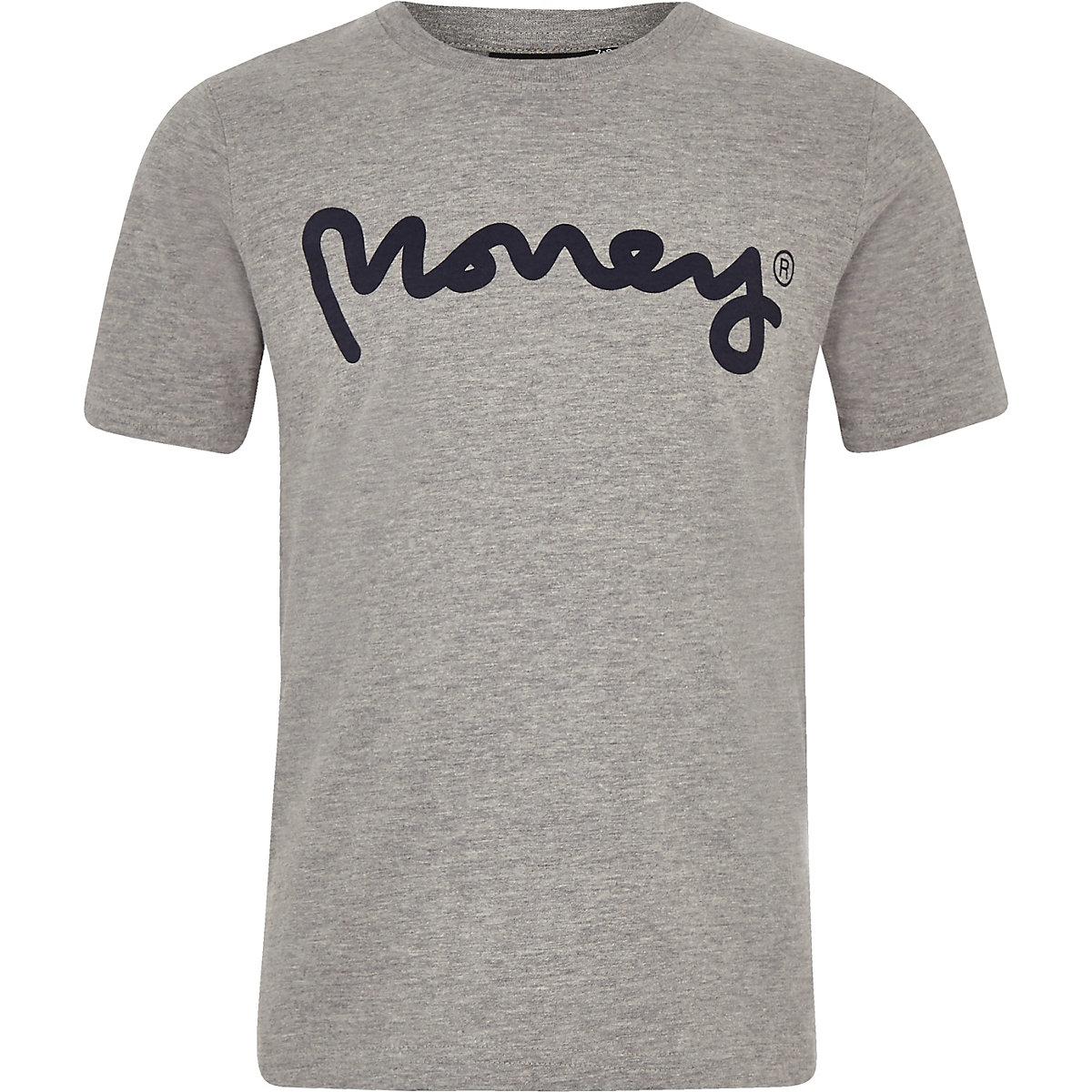 Boys grey Money Clothing logo T-shirt