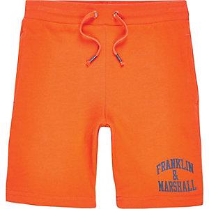 Boys orange Franklin & Marshall jersey short