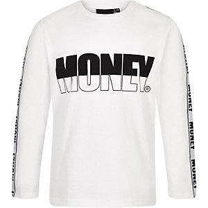 Money – Weißes, langärmliges T-Shirt