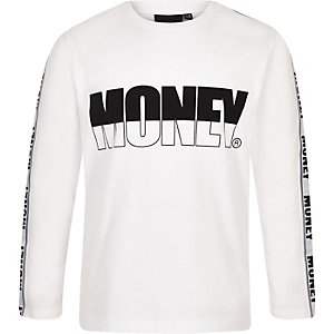 Money - Wit T-shirt met lange mouwen voor jongens