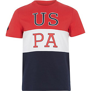 U.S. Polo Assn. - Rood T-shirt met kleurvlakken voor jongens
