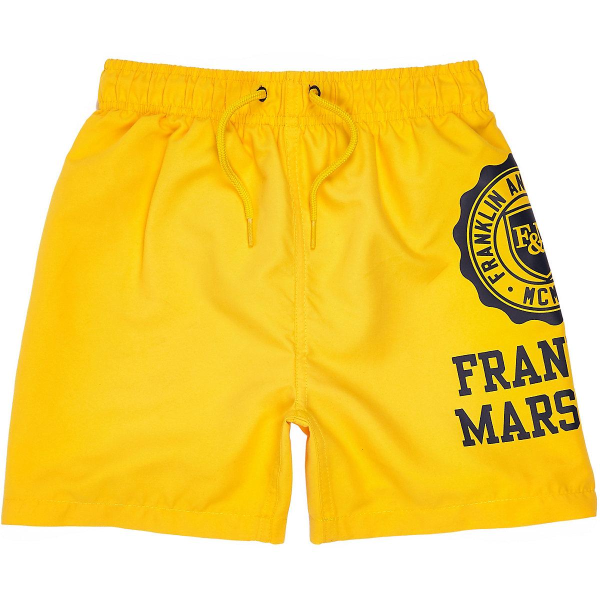 Boys yellow Franklin & Marshall swim trunks