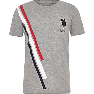 Boys grey U.S. Polo Assn. stripe T-shirt