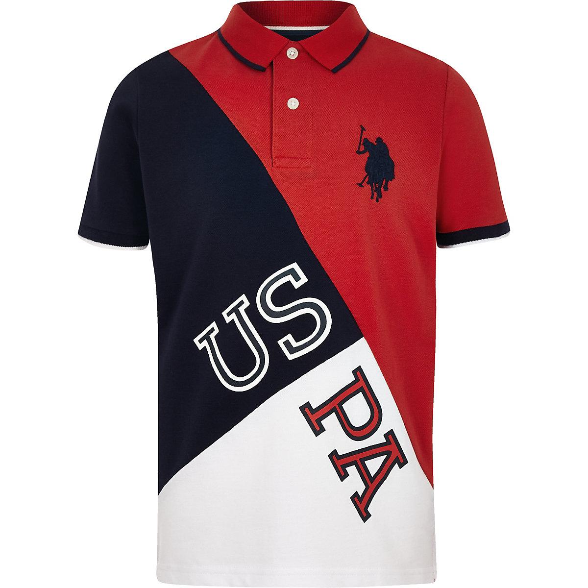 Boys red U.S. Polo Assn. block polo shirt