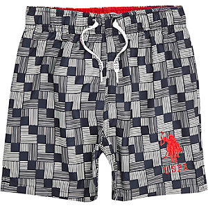 Boys blue U.S. Polo Assn. geo swim shorts