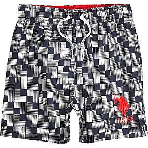 Boys blue U.S. Polo Assn. geo swim trunks